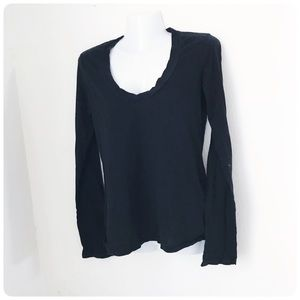 Standard James Perse black v-neck pullover top 2 M
